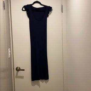 Hatch ribbed navy maternity dress